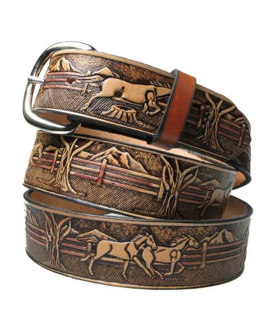 Leather Belt - Brown Horses