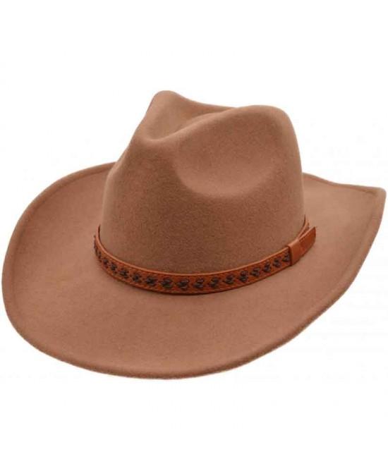 Wool Felt Western Hat - Camel Brown