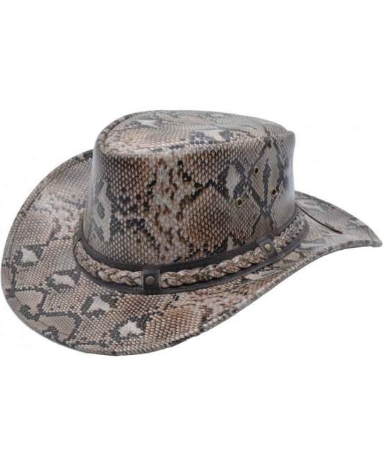 Snake Pattern Leather Hat