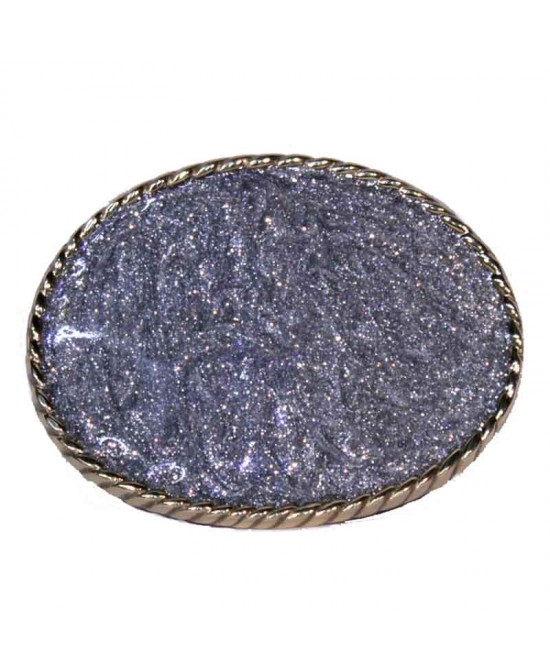 Belt Buckle - Large Rodeo Gold and Silver Glitter Disc