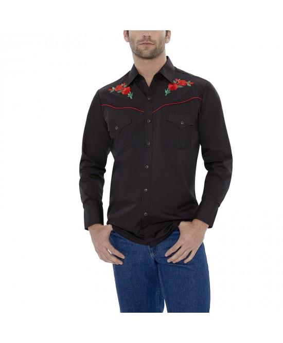 Ely Cattleman - Red Rose on Black